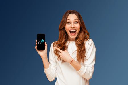 Lady Holding Phone Virtual Landline